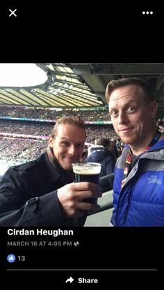 Sam Heughan with his brother Cirdan  march 2016