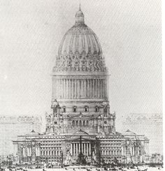 Chicago Civic Center (1909) by the usually accomplished Daniel H. Burnham. This beast looks more like a stubby nuclear- pulse intergalactic Mothership than anything that anyone would have wanted to build on the ground—at least in space it would be out of sight.