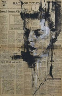 """""""pornography for plutocrats"""", conte and chalk on newsprint/ Guy Denning, 2013"""