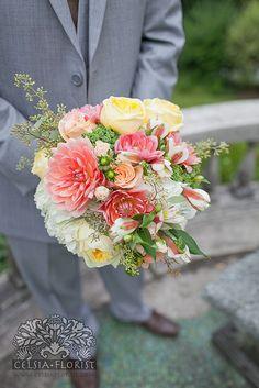 Bridal bouquet of dahlia, roses, garden roses, seedum, seeded eucalyptus. by Celsia Florist, via Flickr