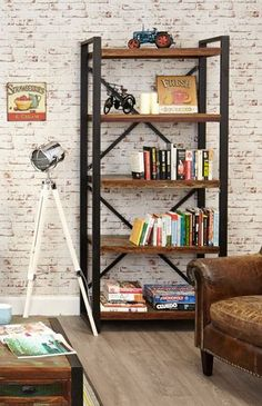 Urban Chic Large Open Bookcase #furniture #home #interior #decor #livingroom #lounge #bedroom #hallway #boho #bohemian #shabbychic #urban #contemporary #bookcase #books