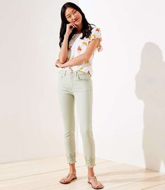 Shop LOFT for stylish women's clothing. You'll love our irresistible Eyelet Hem Slim Pocket Skinny Crop Jeans in Matcha Latte - shop LOFT.com today!