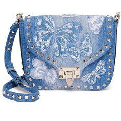 Valentino Rockstud Butterfly Denim Shoulder Bag (6.249.890 COP) ❤ liked on Polyvore featuring bags, handbags, shoulder bags, apparel & accessories, denim, studded handbags, blue shoulder handbags, shoulder bag purse, denim handbags and blue purse