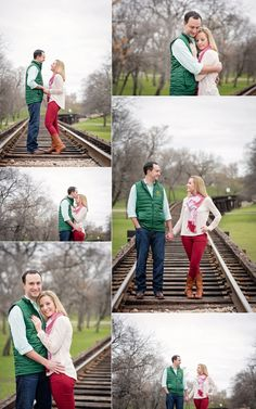 Fort Worth Trinity Park Engagement Session - couple standing on inactive train tracks - Baylor and OU - photo by Vanja D Photography www.vanjad.com