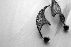"Celestial's ""Sailing Away"" knit earrings, habu stainless + bead(s)"