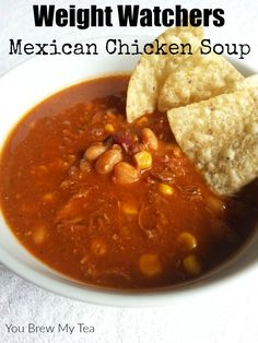 Weight Watchers Soup doesn't have to be boring! Make our Crockpot Mexican Chicken Soup for only 6 Smart Points per serving! Weight Watchers Soup doesn't have to be boring! Make our Crockpot Mexican Chicken Soup for only 6 Smart Points per serving! Ww Recipes, Skinny Recipes, Slow Cooker Recipes, Crockpot Recipes, Cooking Recipes, Healthy Recipes, Healthy Lunches, Detox Recipes, Family Recipes