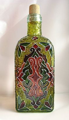 Green Bottle by bellekaX on deviantART Painted Glass Bottles, Recycled Glass Bottles, Glass Bottle Crafts, Wine Bottle Art, Glass Painting Designs, Christmas Wine Bottles, Glass Printing, Bottle Painting, Deviantart
