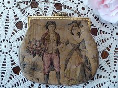 Vintage Tapestry Purse Courting Couple, Loving Couple Tapestry Small Bag by MyFrenchTexas on Etsy