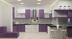 secrets about purple kitchen cabinets 2019 and purple kitchen accessories. We will also tell you about the trends purple kitchen ideas and its combination such as purple and white kitchen decor. Purple Kitchen Cabinets, Kitchen Cabinets Color Combination, Kitchen Cabinet Colors, Kitchen Cabinet Makers, Kitchen Maker, Wall Paint Colour Combination, Purple Kitchen Accessories, Laminate Colours, White Kitchen Decor