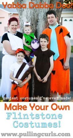 Making Flintone costumes is an easy way to have matching Halloween costumes for all your family!