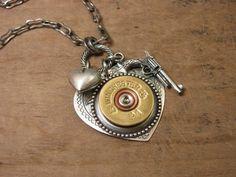 Shotgun Casing Jewelry - Shot Through the Heart - Silver Etched Heart Pendant w/ Winchester 20 Gauge Shotgun Shell, Gun & Heart Charm. $48.00, via Etsy.