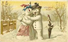 Vintage Christmas Snowman Lovers |
