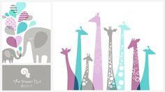 Giraffes and matching Elephants in light purple and teal // Custom Prints for Kristy
