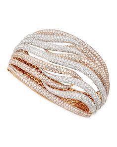 Roberto Coin 18k White & Rose Gold Fantasia Pave Diamonds Crossover Bangle, 27.47 TCW