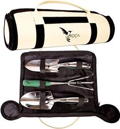 Superior Garden Tools Set with Trowel Transplanter and Rake by ROCA Home Great Gardening Gifts Garden Tools Case Included and Gardening Guide >>> Check this awesome product by going to the link at the image.
