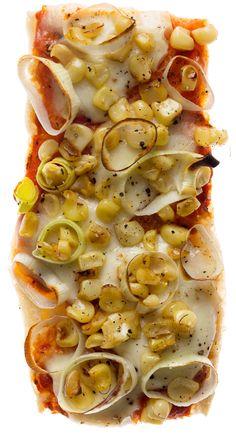 Corn and sautéed leek pizza boats