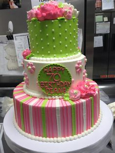 The top 2 layers only, but the top layer should have the pink/white/green stripes OR change the green to pink, and keep the flowers. Add matching cupcakes.
