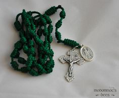 Irish Rosary: Green Knotted Twine Rosary with St. Patrick & St. Brigid Medal and Pardon Crucifix