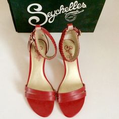 """SEYCHELLES sandals Gorgeous red sandals with 2"""" inch heels.  Only worn a handful of times Seychelles Shoes Sandals"""