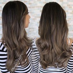 Ash brown balayage for a beautiful glowing mother to be. Her hair is so thick… Ash brown balayage fo Balayage Asian Hair, Brown Balayage, Bayalage, Hair Color And Cut, Brown Hair Colors, Hair Colour, Ombre Hair, Ash Ombre, Dark Hair