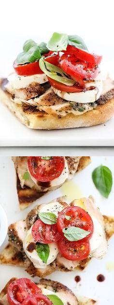Chicken Caprese Sandwich on grilled sourdough | foodiecrush.com