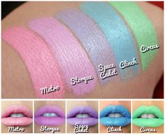 Spring Pastels Opaque Matte Lipstick sample set 5 by ImpulseCo - HOT DAMN these are bold.