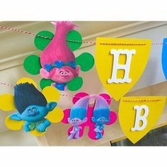 TROLLS Birthday Banner-Trolls Theme Party-Trolls Decorations- by LittleRedBanner on Etsy