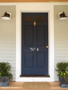 Increase curb appeal by painting charming house numbers on your door (by Migonis Home)