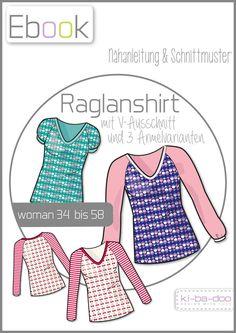 Ebook V-Raglanshirt - Schnittmuster und Anleitung als PDF, versandkostenfrei (Diy Shirts Pattern)