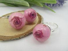 Rosebuds resin Sweet set of jewelry Sphere of the resin Birthday gift Earrings balls Flower ring Natural jewelry Flower Resin Jewelry by FlowerJewerly on Etsy