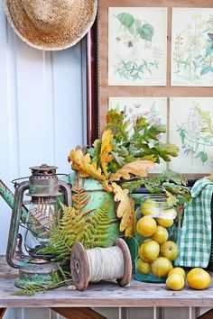 Fall vignette ~ bold colors of the outdoors combined with vintage finds