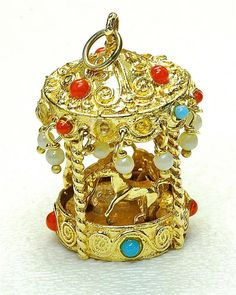 Wow Vintage 14k yellow Gold & colorstone Merry-go-Round  HUGE Charm pendant 50s ~ 1.17 inches tall ~ 11 grams ~ $789.15
