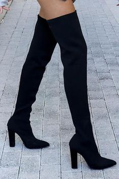 """Black thigh highs feature a spandex stretchy material, a pointed toe, a chunky heel Heel 4"""""""