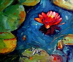 July 25, 2013 Pink Water Lily With a Dragonfly Painting! Professional Camera VS Cheap One! | Plein Aire in Maine