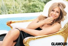 Jennifer Aniston in September Glamour. Dress, Narciso Rodriguez; ring, Jennifer Fisher.