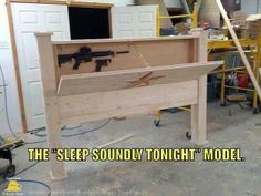 Hidden gun cabinet in your headboard ... Heck YES please!