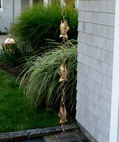 What better way to welcome spring than with the Good Directions Fish Rain Chain ? These artisan flying fish create delicate music during rain showers. Gutter Clips, Garden Art, Home And Garden, Garden Ideas, Dream Garden, Garden Design, Outdoor Living, Outdoor Decor, Outdoor Ideas