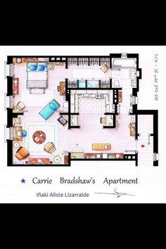 Carrie bradshaws apartment - jag gillar att hon har fem fotöljer i sitt vardagsrum. Det gör det möjligt för många att sitta, eller för henne att sitta i många olika miljöer. En stol vid datorn, två vid bordet (just nu står den ena i sovrummet), en stor att krypa upp i och skriva och en i hörnet. Sedan kan man dra ihop dem om man vill. Mysigare än en soffa!