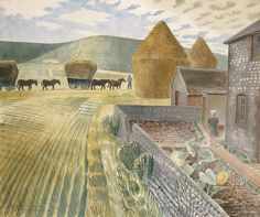 Eric Ravilious: Furlongs The Sussex Downs. Go and see this at The Ravilious Room at The Towner Art Gallery in Eastbourne! Landscape Prints, Landscape Art, Landscape Paintings, Landscapes, Sussex Downs, East Sussex, Painting & Drawing, Art Gallery, Illustration Art