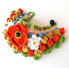 boho flower braceletpoppy braceletred green by Marmotescu on Etsy