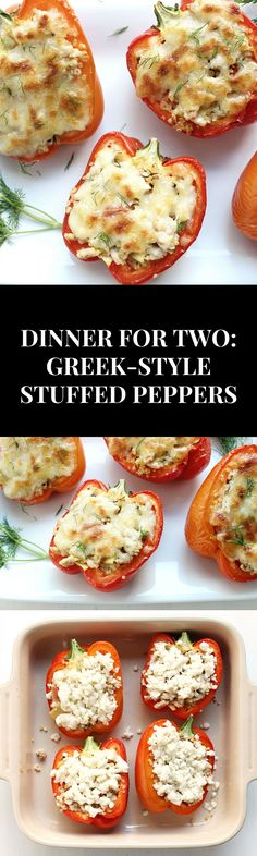 Dinner for Two: Greek-Style Stuffed Peppers!! flavorful, summery, healthy, and delicious, these are ready in <1 hour!