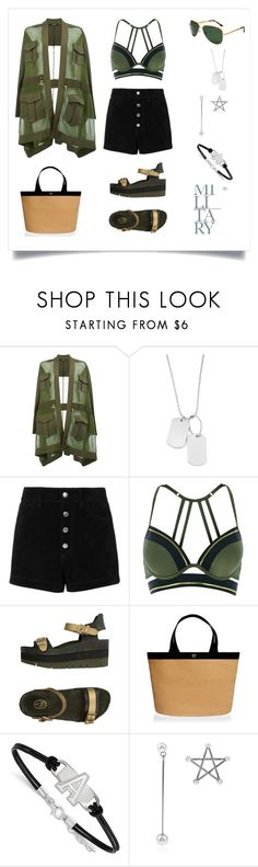 Military Style by marinaova on Polyvore featuring Balmain, rag & bone/JEAN, River Island, Ash, Eric Javits, LogoArt, Summer, chic, summertime and military