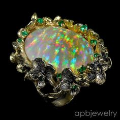 Top Special 17ct AAAA+ Natural Opal 925 Sterling Silver Ring Size 8/R27981 #APBJewelry #Ring