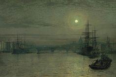 London Bridge Night  Artist: John Atkinson Grimshaw... I can hear the water hitting the dock as I see this