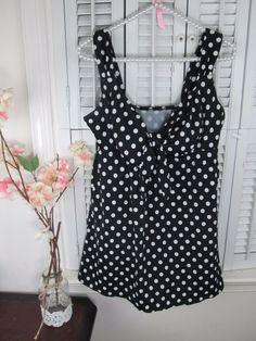 e7b2b1afe5 Croft & Barrow Swimdress Dresskini One Piece Swimsuit size 16 NWOT Polka dot