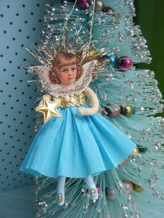 Vintage Style Spun Cotton Angel Christmas by ornamentsbypink