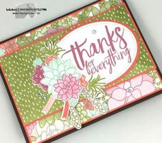 succulent-all-things-thanks-4-stamps-n-lingers Card Creator, Card Sketches, Stamping Up, Flower Cards, Greeting Cards Handmade, Stampin Up Cards, Thank You Cards, Cardmaking, Succulents