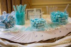 This sweet dessert bar is not only delicious, it makes for gorgeous wedding decor! Yellow River, Candy Display, Blue Candy, Wedding Decorations, Table Decorations, Candy Bars, Pastel Blue, Sweet Desserts, Something Blue