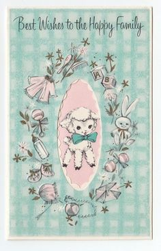 Vintage Greeting Card Cute New Baby Lamb Sheep Animals Retro L47
