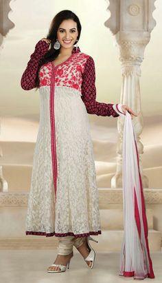 $124.13 White Net Resham Work Anarkali Salwar Kameez 26863